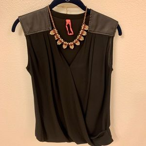 Black blousy sleeveless top w/faux leather detail